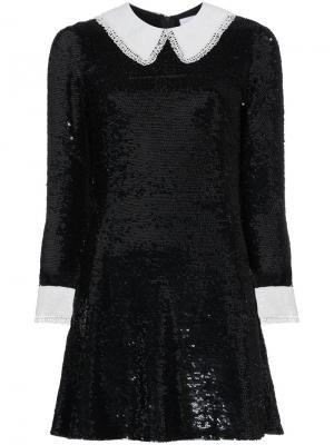 Платье мини с пайетками и контрастной отделкой Ashish. Цвет: чёрный