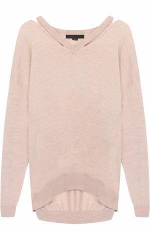 Шерстяной пуловер свободного кроя с V-образным вырезом Alexander Wang. Цвет: бежевый