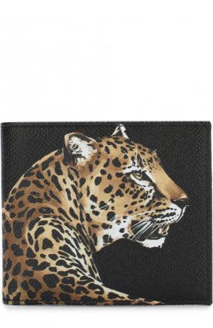 Кожаное портмоне с принтом и отделениями для кредитных карт Dolce & Gabbana. Цвет: черный