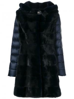 Пальто-пуховик с норковым мехом Liska. Цвет: синий