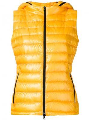 Пуховый жилет с капюшоном Herno. Цвет: жёлтый и оранжевый