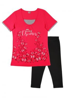Комплект женский (туника, бриджи) Family Colors. Цвет: розовый