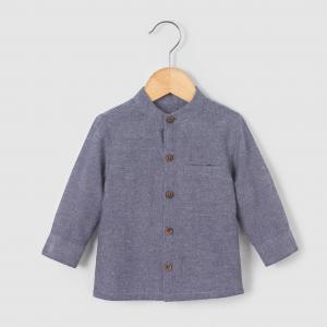 Рубашка из шамбре с воротником-мао, на возраст от 1 мес. до 3 лет R mini. Цвет: синий шамбре