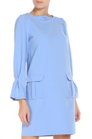 Прямое платье без застежек Adzhedo. Цвет: голубой