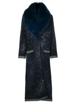 Пальто со съемным воротником из искусственного меха Giada Benincasa. Цвет: синий