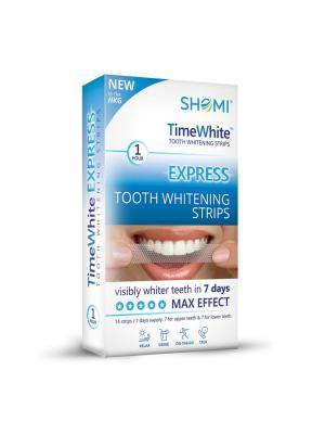 Отбеливающие полоски для зубов SHOMI TIME WHITE EXPRESS. Цвет: голубой
