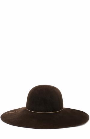 Фетровая шляпа Honey с цепочкой Eugenia Kim. Цвет: коричневый