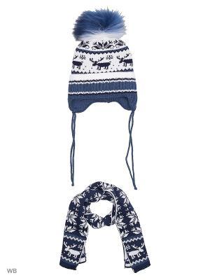 Шапка + шарф MIKIVIKI. Цвет: белый, индиго