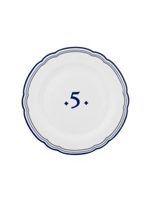 Набор из 4-х тарелок Copenhagen Five MollyMarais. Цвет: темно-синий, белый