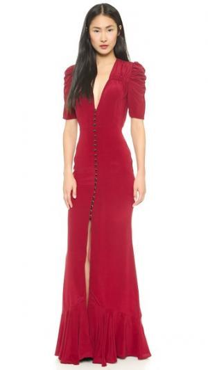 Макси-платье Clara со сборками Carmella. Цвет: бордовый