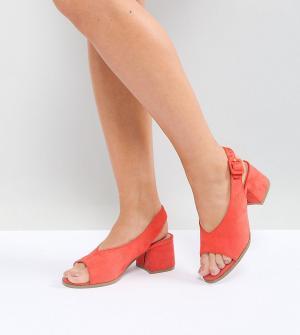 Lost Ink Wide Fit Босоножки кораллового цвета на среднем каблуке для широкой стопы. Цвет: оранжевый