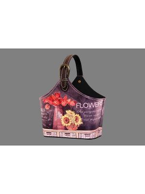 Сумочка интерьерная для хранения Натюрморт с подсолнухами EL CASA. Цвет: фиолетовый, красный, коричневый