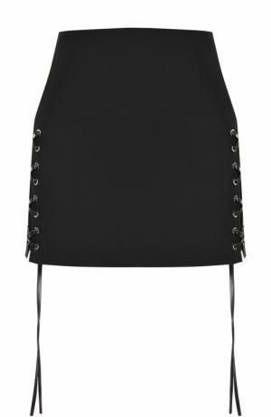 Однотонная мини-юбка со шнуровкой Helmut Lang. Цвет: черный
