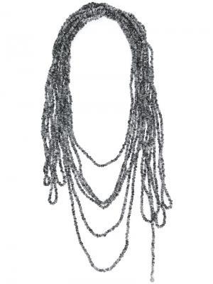 Многослойный шарф Maria Calderara. Цвет: серый