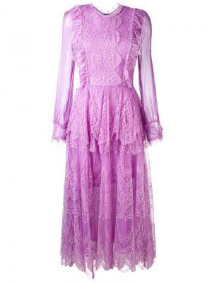 Платье-миди Mousseline Maria Lucia Hohan. Цвет: розовый и фиолетовый