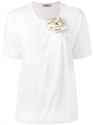Футболка декорированная цветком Lanvin. Цвет: белый