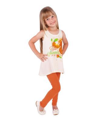 Туника, леггинсы, коллекция Оранжевый взрыв Апрель. Цвет: молочный, оранжевый