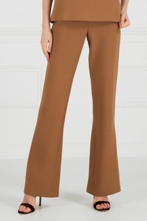 Расклешенные брюки из крепа Chapurin. Цвет: горчичный