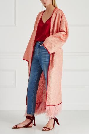 Шелковое пальто-халат Royal Sophie&Eva. Цвет: красный