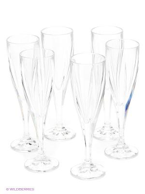 Рюмка для шампанского, 180 мл, 6 шт Crystal Bohemia. Цвет: прозрачный