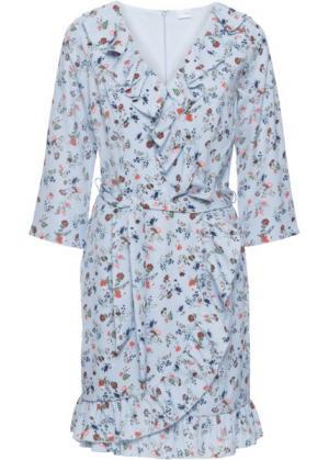 Платье из шифона с воланами (синяя пудра в цветочек) bonprix. Цвет: синяя пудра в цветочек