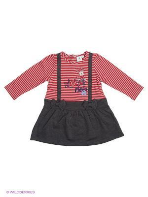 Платье Sun City. Цвет: красный, серый меланж