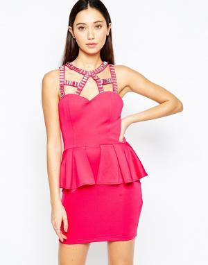 Girl In Mind Платье с баской. Цвет: розовый