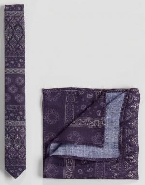 ASOS Фактурный фиолетовый галстук и платок для нагрудного кармана с принтом. Цвет: фиолетовый