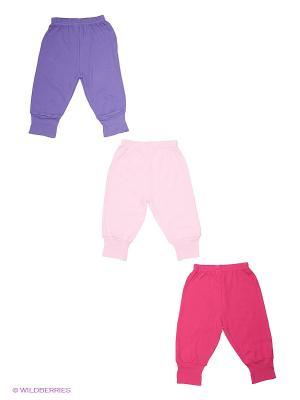 Брюки, 3 шт. Luvable Friends. Цвет: фиолетовый, бледно-розовый, фуксия