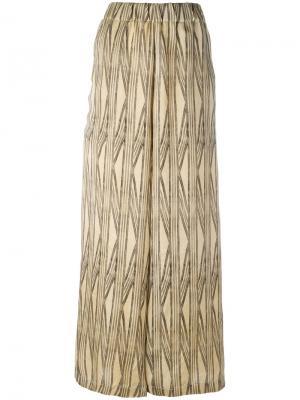 Широкие брюки с абстрактным узором Uma Wang. Цвет: коричневый