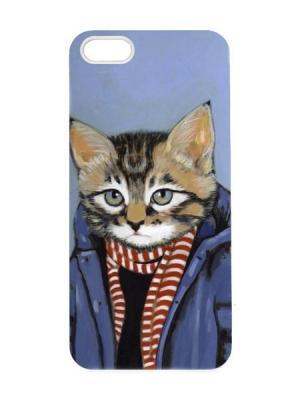 Чехол для iPhone 5/5s Кот-подросток Арт. IP5-077 Chocopony. Цвет: серо-голубой, серый, антрацитовый