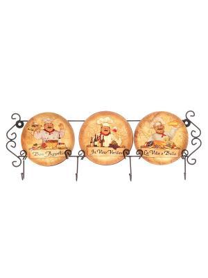 Тарелка настенная Повара Elan Gallery. Цвет: коричневый, бежевый, белый