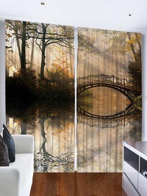 Фотошторы Мост над водой, 290*265 см Magic Lady. Цвет: бежевый