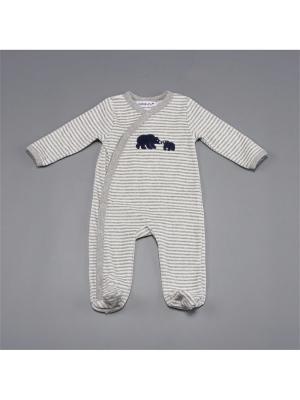 Комбинезон нательный для малыша BABALUNO. Цвет: белый, серый