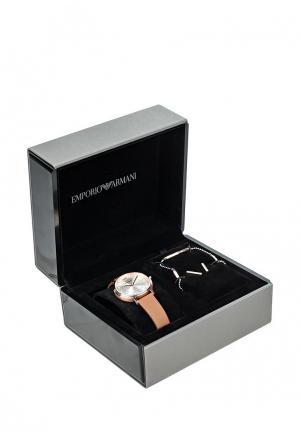 Комплект браслет, серьги и часы Emporio Armani. Цвет: коричневый