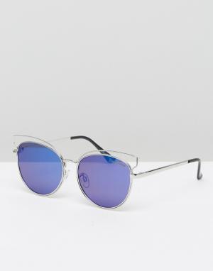 Black Phoenix Солнцезащитные очки. Цвет: серебряный
