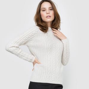 Пуловер с узором косы La Redoute Collections. Цвет: темно-синий,экрю