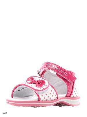 Сандалии Flamingo. Цвет: малиновый, молочный