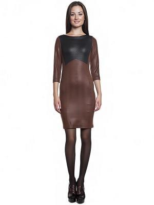 Платье FRENCH HINT. Цвет: коричневый, черный