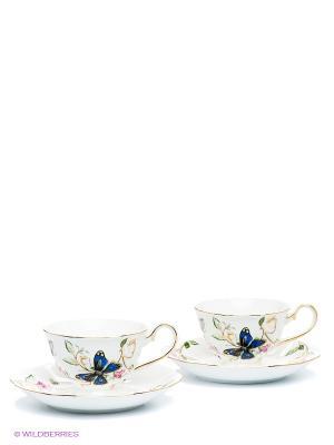Чайный набор на 2 персоны Райский уголок (Pavone) Pavone. Цвет: белый, синий