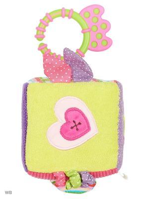 Кубик-подвеска для развития тактильных ощущений Зайка Полли Жирафики. Цвет: сиреневый, розовый, салатовый