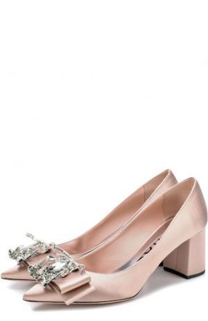 Атласные туфли с бантами на устойчивом каблуке Rochas. Цвет: светло-розовый