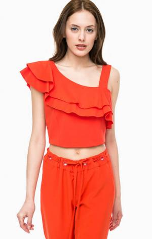 Короткий оранжевый топ асимметричного кроя Kocca. Цвет: оранжевый