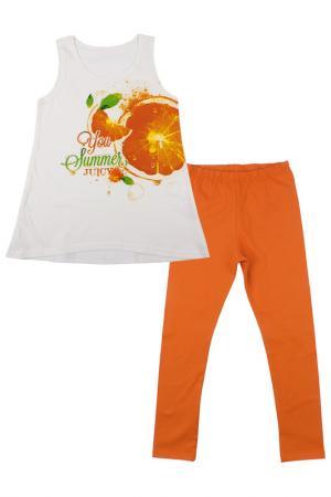 Комплект: джемпер, рейтузы Апрель. Цвет: молочный, оранжевый