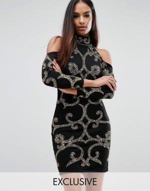 Starlet Платье мини с узором из пайеток. Цвет: черный