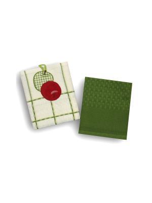 Набор полотенец Овощи-Фрукты из 2-х шт. 45*70 Bonita, вафельных BONITA. Цвет: белый, зеленый