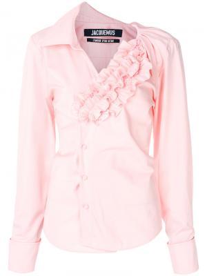 Асимметричная рубашка с рюшами Jacquemus. Цвет: розовый и фиолетовый