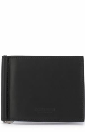 Кожаный зажим для купюр с отделениями кредитных карт Giorgio Armani. Цвет: черный