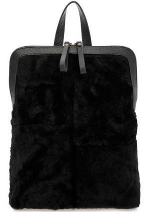 Черная меховая сумка-рюкзак с одним отделом Io Pelle. Цвет: черный