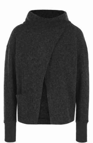 Шерстяной свитер с разрезом на груди Deha. Цвет: серый